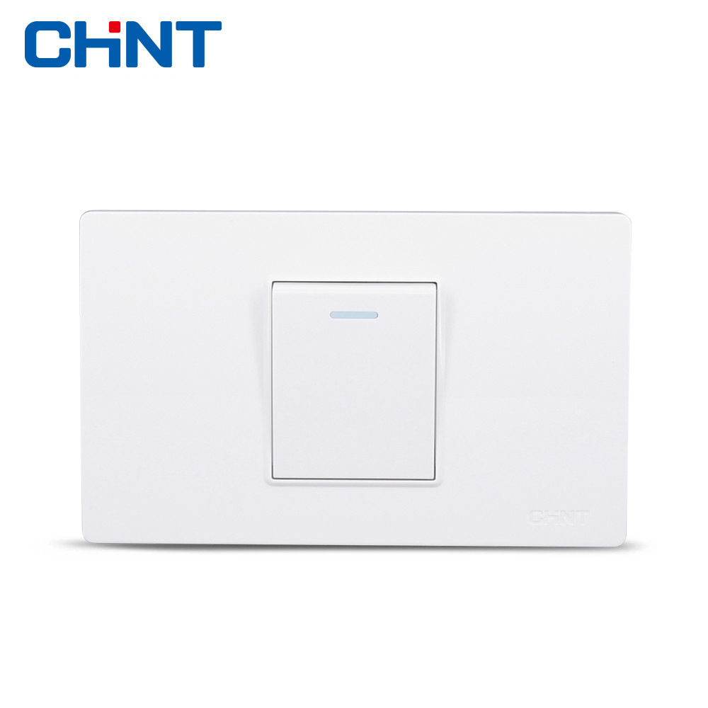 цена на CHINT 118 Type Wall Switch NEW5D Steel Frame Hyun White One, One Gang Two Way Switch Panel Single Control