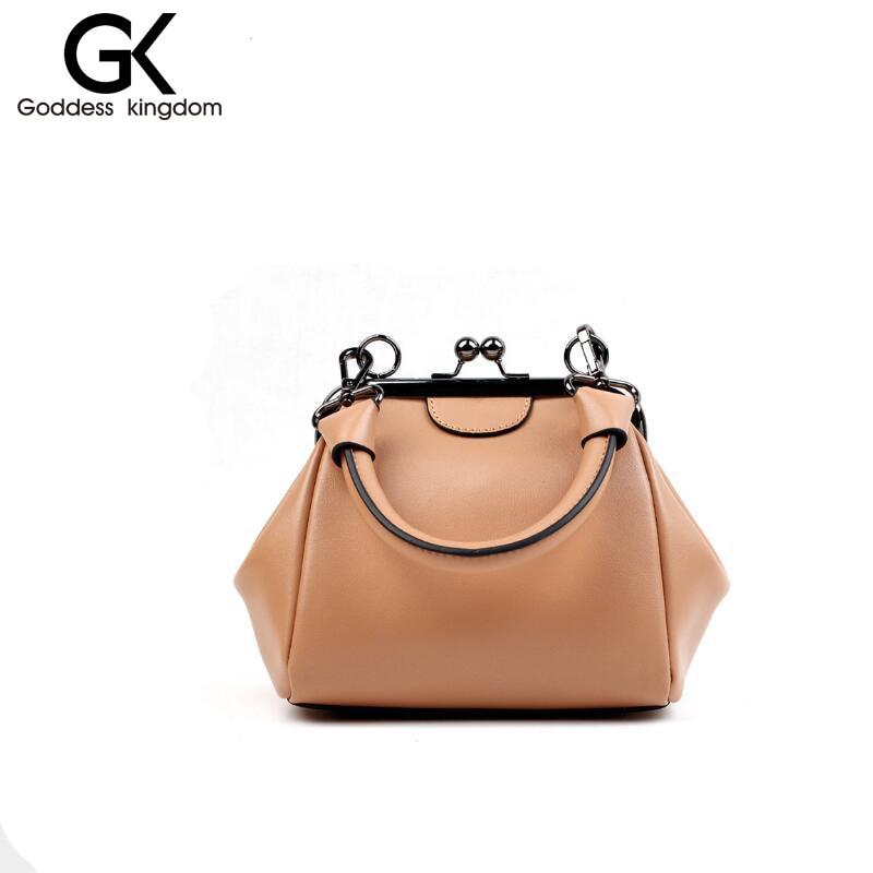 ФОТО GODDESS KINGDO Genuine leather pe bucket bag solid fashion female pack shoulder bag marca famosa mujer women bag sylish bagz1004