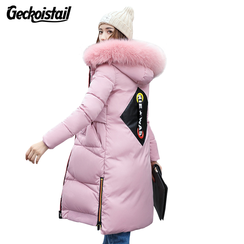 Geckoistail Women Jacket  Hooded Warm Parkas Coat New Fashion Winter Thicker Down Cotton Slim Fur Collar Female Outerwear Parkas down cotton jackets women winter warm coat new fashion hooded thicker casual outerwear plus size slim parkas female okxgnz ah203