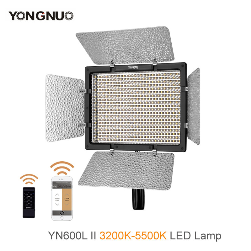 Yongnuo <font><b>YN600L</b></font> II 3200K-5500K LED Video Light with AC Adapter Set Support Remote Control by Phone App for Interview image