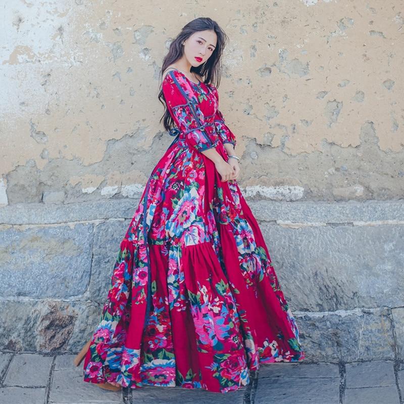Fleur Imprimer Pièce Mori Longue Faux 2 Fille longueur Cheville Femmes Une Ligne Bretelles Red Automne Rétro 2018 Coton Robe Bohême Printemps qCawXpI