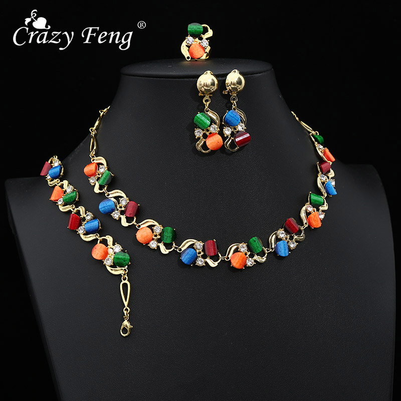 Crazy Feng Wedding Jewelry Sets For Women Luxury Oil Paiting Round Pendant Necklaces Earrings Bracelets Set Accessories