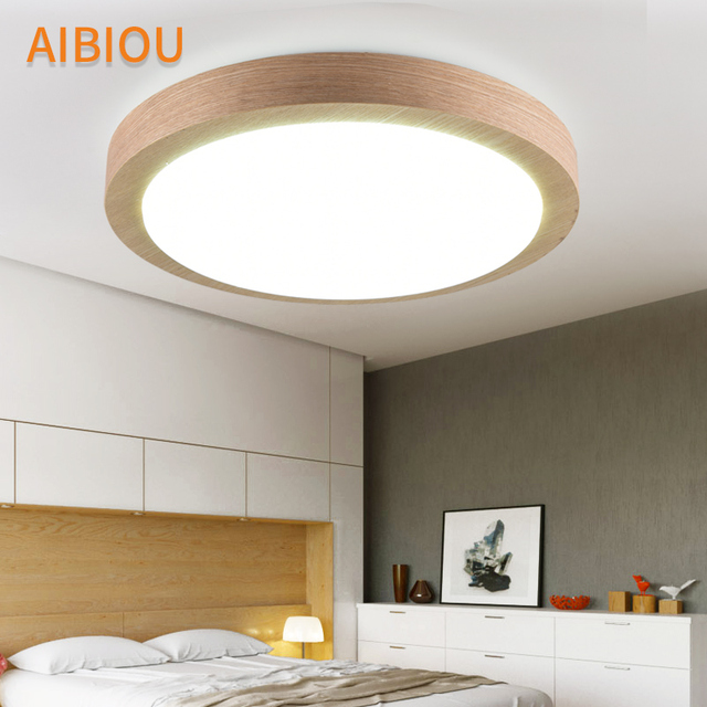 AIBIOU LED Ceiling Lights With Remote Controll Dimmable Ceiling Light For Living Room Round Bedroom Wooden Lighting Fixture