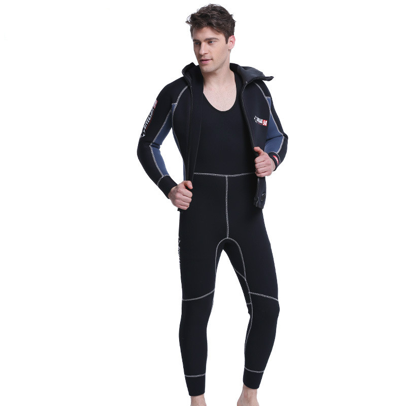 DIVE&SAIL Double Warm Professional 5MM 2-Piece Neoprene Scuba Dive Wetsuit With Hooded Spearfishing Wet Suit For Men Equipment I sbart 3mm neoprene scuba dive wetsuit for men spearfishing wet suit surf equipment keep warm one piece diving wetsuits