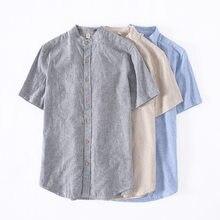 ad4abc666ef962 Styl Vintage Mężczyźni Z Krótkim Rękawem W Paski Koszulki Fajne Pościel Po  Prostu Stójka Slim Fit