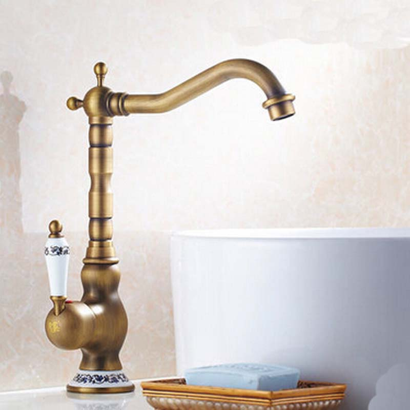 цена Taller Style Single Lever Bathroom Basin Faucet Deck Mounted Hot and Cold Basin Faucet Taps
