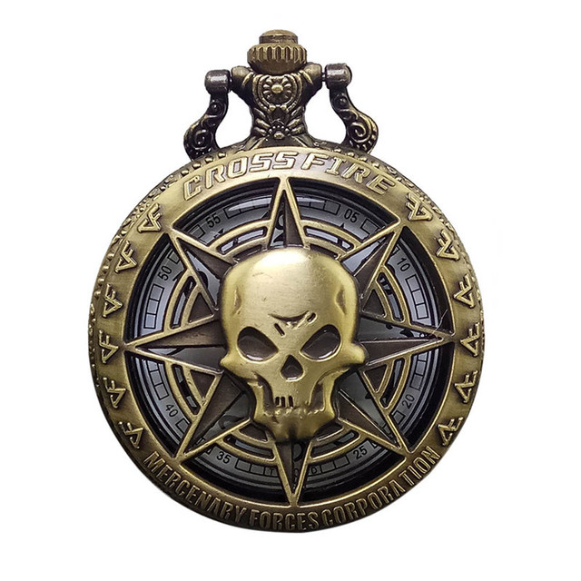 Retro quartz Pocket Watch Hollow Pendant Skull Pendant Necklace men's Women's Wa