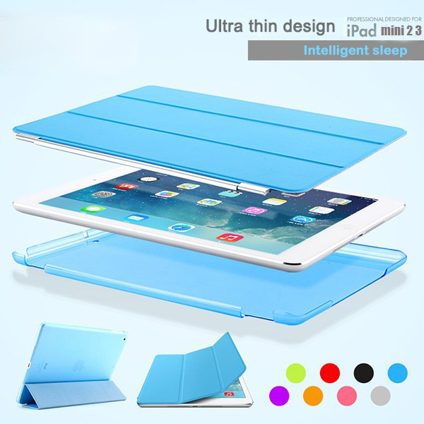 For ipad mini 1 2 3 New 1 Pair/lot PU Leather Slim Magnetic Tri-Fold Folding Front Smart Cover Skin +Hard Back PC Case