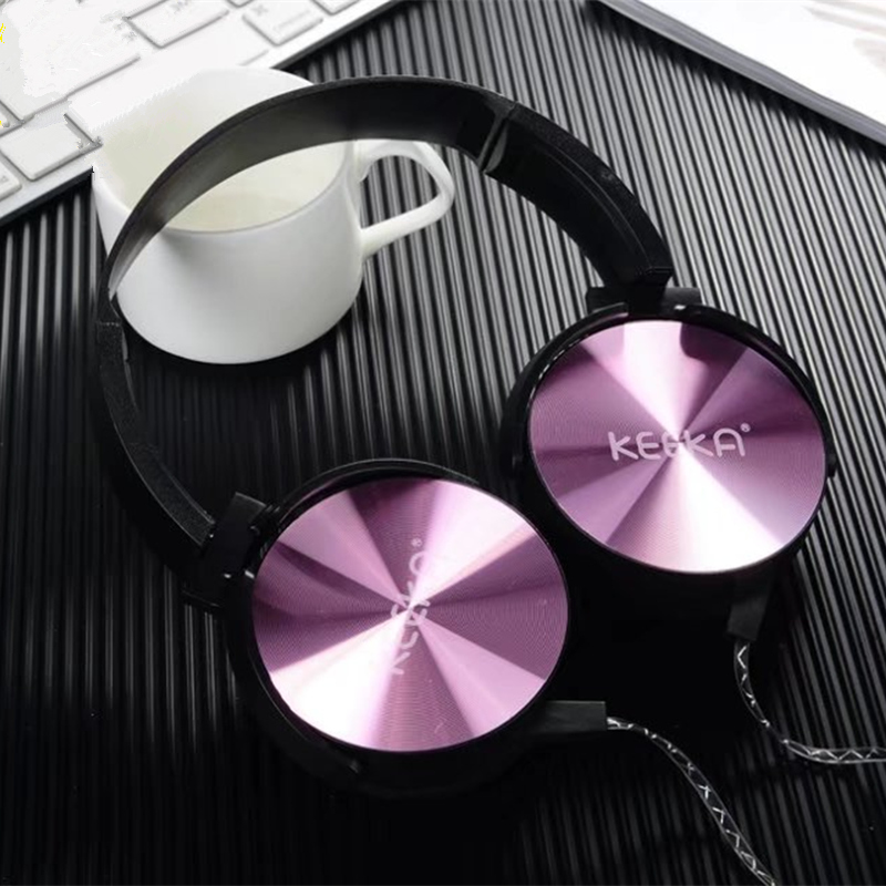 Luxury Headband Stereo Headphones with Microphone Portable Wired Rose Gold Girls Headset for Mobile Phone iPhone Samsung Gift kanen wired stereo lightweight foldable headphones adjustable headband headsets with microphone for smartphones iphone