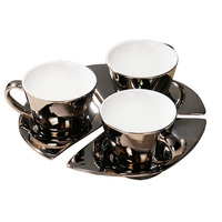High Grade Silver Plating Ceramic Coffee Cup Set Creative Europe Style Brief Healthy Coffee Set Tea Cup Three Set Free Shipping