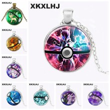 XKXLHJ New Dragonair Pokeball Necklace Sylveon Pokeball Pendant Leafeon Jewelry Pokemon Round Glass Necklace(China)