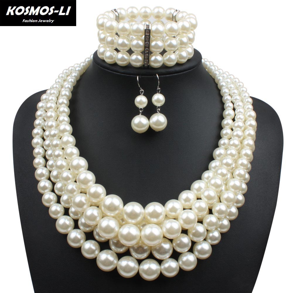 Simulated Pearl Jewelry Sets For Women Lady Plastic Beads Collares Necklace With Earrings Bracelet African Wedding Jewelry Set classical malachite green round shell simulated pearl abacus crystal 7 rows necklace earrings women ceremony jewelry set b1303