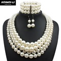pearl jewelry set 3pcs new fashion simulated plastic pearl beads statement women necklace party bridal necklace 2420