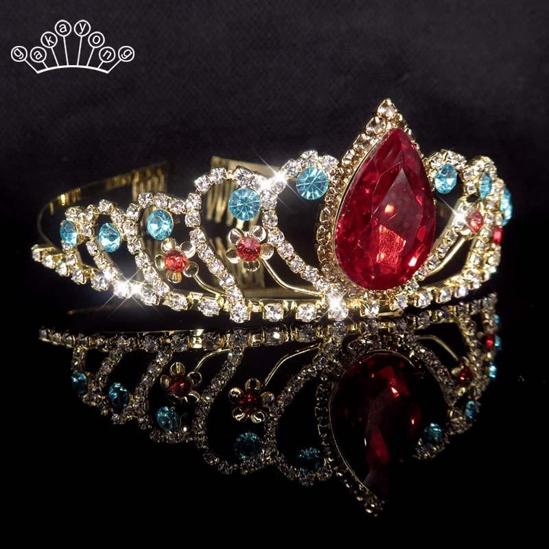 Birthday Tiara Crystal Red Rhinestone Queen Princess Crown Hair Combs Clips