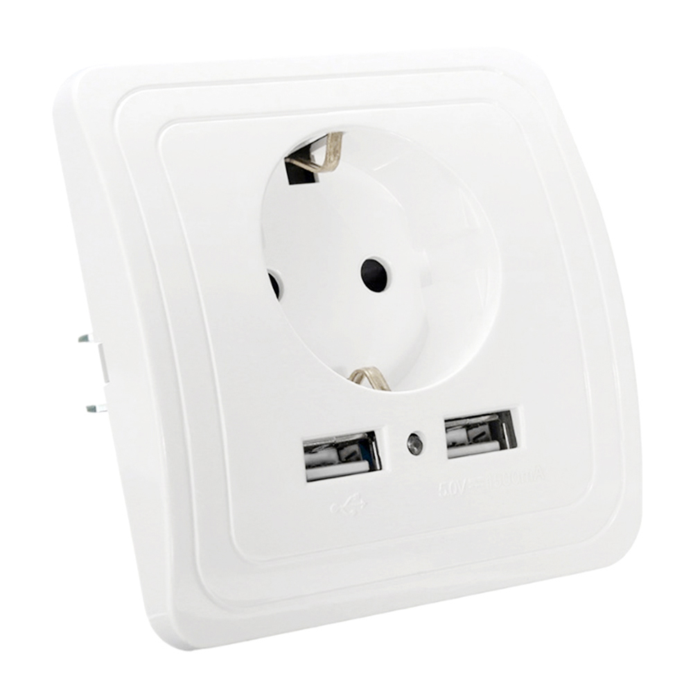 socket with usb wall outlet 5V 2A and 5V 1.5A Dual Wall Socket eu Ports Charger 16A 250V kitchen plug sockets Electrical Outlet leory universal 2100ma 5v 2 usb wall socket ac 110 250v us uk eu au home wall charger 2 ports usb outlet power charger for phone