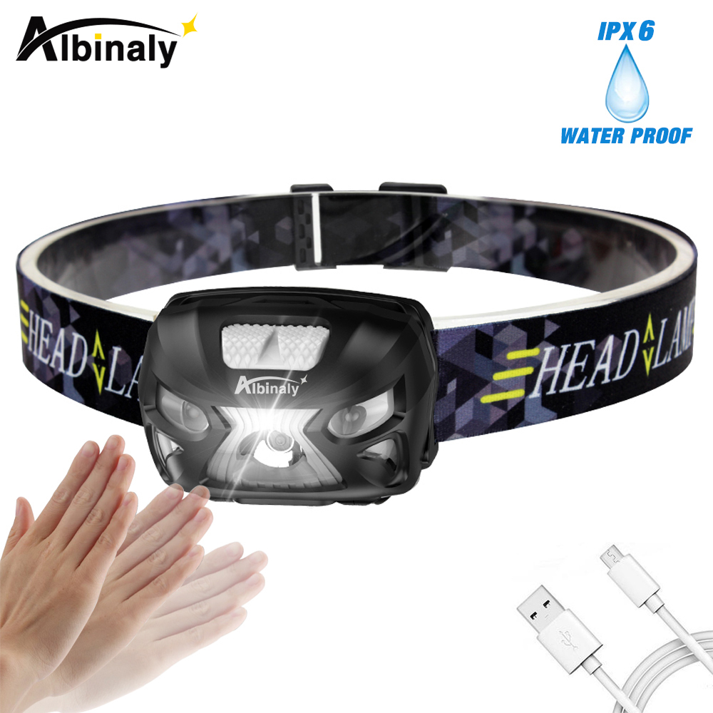 Albinaly 3000LM Mini Rechargeable LED Headlamp 3000Lm Body Motion Sensor Headlight Camping Flashlight Head Light Lamp With USB albinaly 5w led body motion sensor headlamp mini headlight rechargeable outdoor camping flashlight head torch lamp with usb
