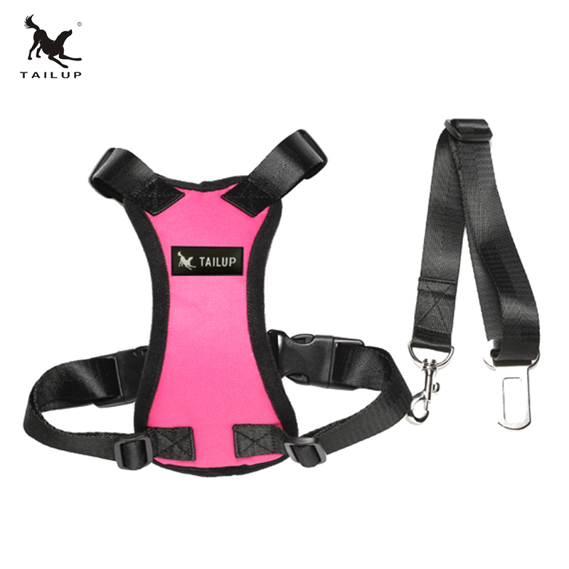TAILUP Hot Sale Auto Dog Car Harness With Seat Belt 7Colors Adjustable Pet Vehicle Harness For Puppy Dog Safety S/M/L/XL