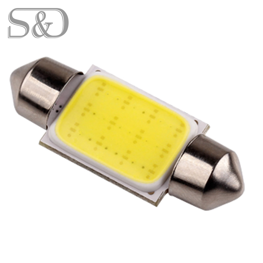 36mm 12Chips COB Led Festoon Lights Dome Lamp Pure White c5w led car bulbs interior Lights Car Light Source parking 12V D030 auxmart triple row led chips 12 led