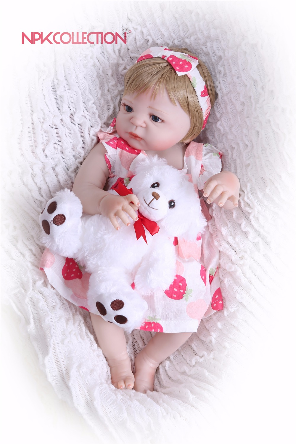 NPKCOLLECTION New Arrival pink Baby Doll Full Silicone Body Lifelike Reborn Princess Girl Doll Handmade Baby Toy Kids Gifts