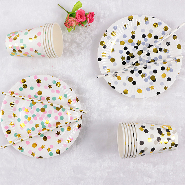 1 set golden star dot paper Plates Cups Straws Disposable Tableware for wedding happy birthday party decorations supplies