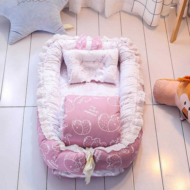 Hot Sale Baby Crib Sets With Quilt Pillow Pure Cotton Baby Nest Travel Crib Bed Cradle Cots For Newborns Portable Washable