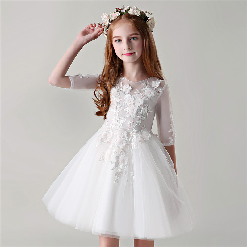 2018 Summer Autumn New Baby Kids White Birthday Wedding Prom Flowers Dress Children Toddler Evening Party Host Costume Dress