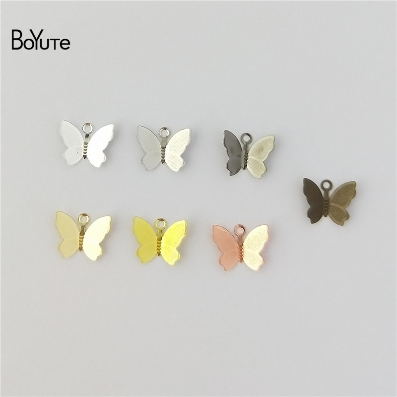BoYuTe 100Pcs 1113MM Butterfly Charms Diy Hand Made Metal Brass Accessories Parts for Hair Jewelry Making (2)