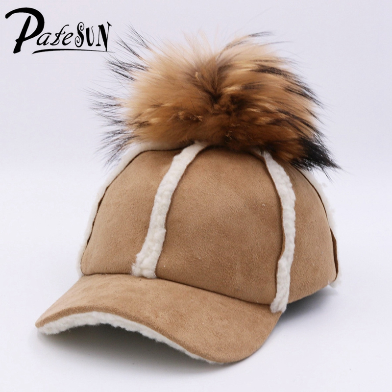 Patesun Fashison Women Autumn Winter Caps Solid Women Baseball Caps Fur Pom Poms Hat for Ladiess Girls wool 2 pieces set kids winter hat scarves for girls boys pom poms beanies kids fur cap knitted hats