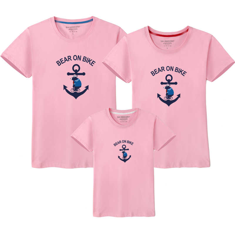 a2f81ab515 ... AD 1PCS Bear on Bike Anchor Family Matching T-shirts Mom and Dad Father  Mother ...