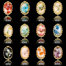 8mmx5mm Nail charms gold oval shape Dry Flower gems alloy 3D Nail Art Decoration, nails decal nail polish design ##4084-4095
