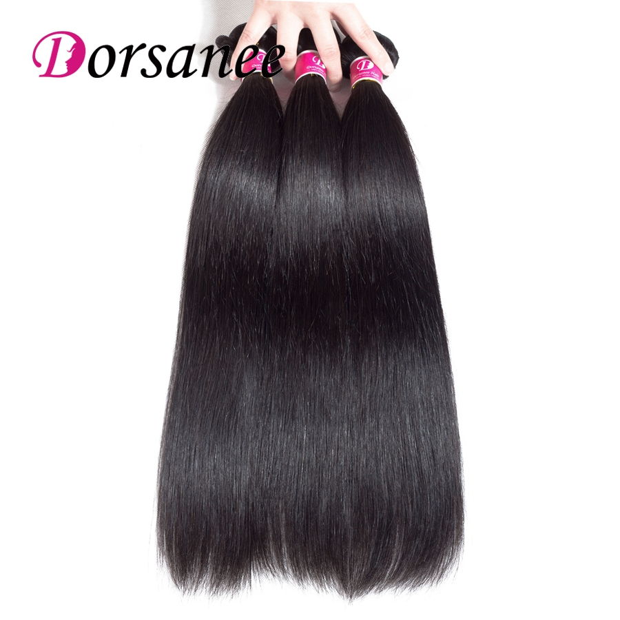 Dorsanee Hair Extensions Peruvian Straight Human Hair Bundles Natural Color Hair Weaves  ...