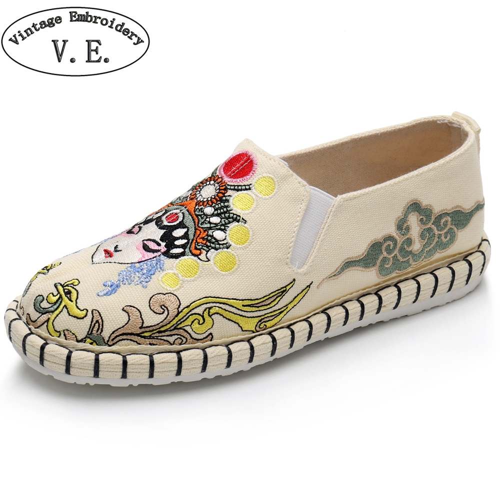 Chinese Women Ethnic Loafers Peking Opera Face Embroidery Flat Shoes Woman Spring Summer Canvas Shoes Sapato Feminino stitching canvas embroidery flat shoes