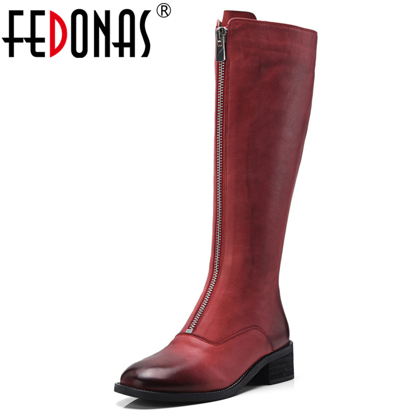 FEDONAS 1New Arrival Women Knee High Boots Genuine Leather Autumn Winter Warm High Heels Shoes Woman Round Toe Zipper High Boots asysplnx sheepskin genuine leather round toe high heels fashion knee high boots women autumn western platform zipper femal shoes