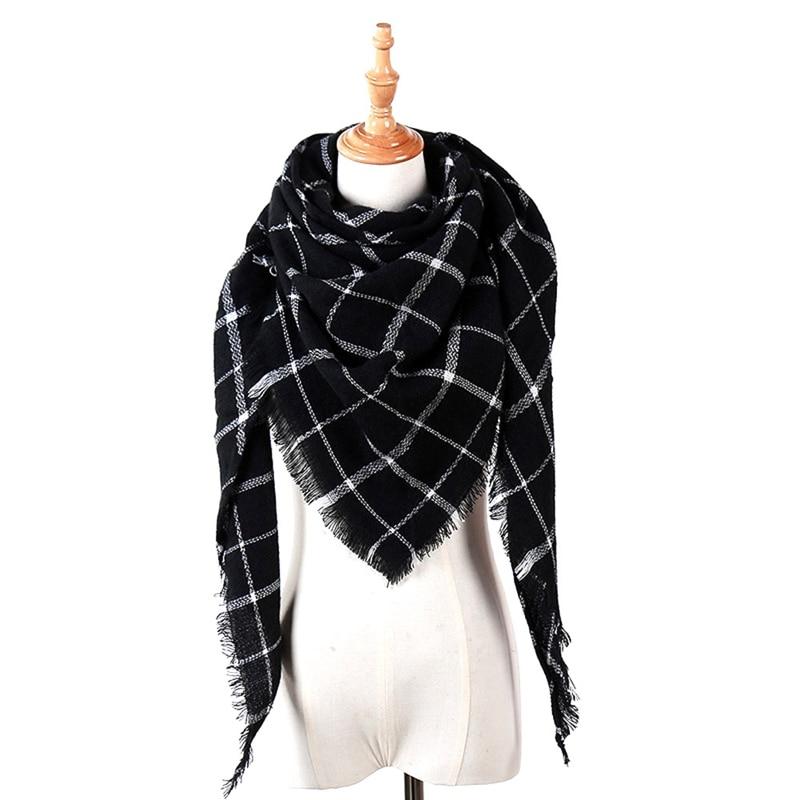 New Winter Scarf Fashion Women Scarf Luxury Plaid Cashmere Scarves Women Triangle Bandage Bufanda Wholesale 140*140