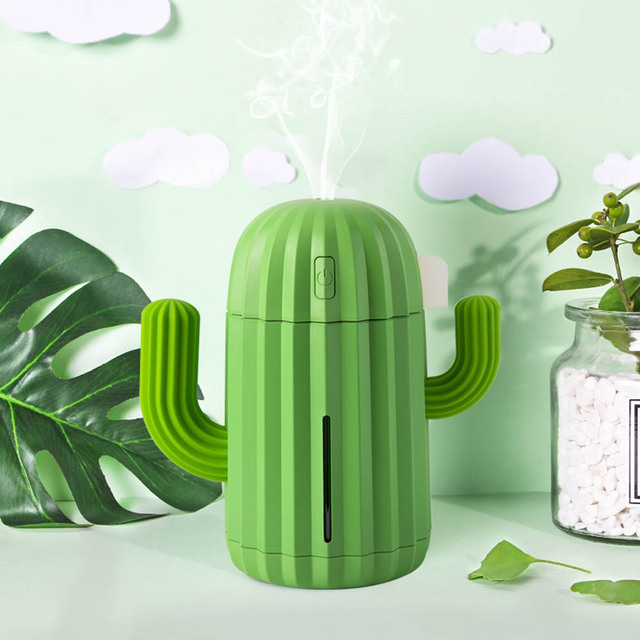 Cactus Themed USB Air Humidifier for Home (3 Colors)
