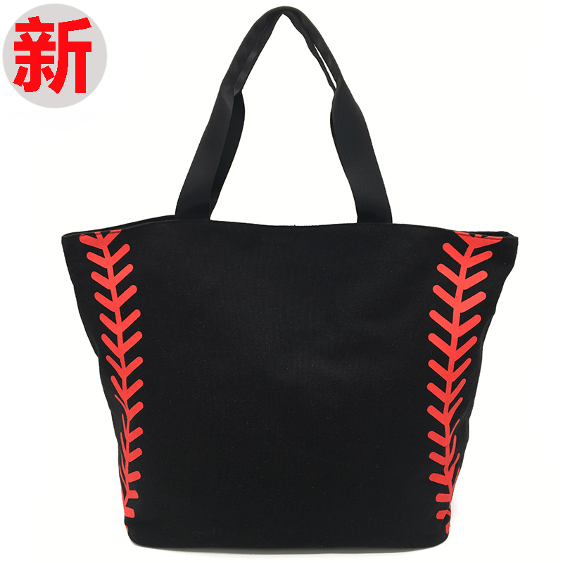 Super Large High Quality Softball Baseball Canvas Cotton Girls Tote Bags Team Players Accessories Yellow White Handbags 3