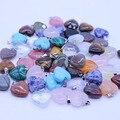 Comercio al por mayor 24 Unids Colgantes de Piedra Natural de 16mm Corazón Colgante de Cuarzo Rosa Joyería de DIY Suspensión de Cristal Ágata Opal Jasper Onyx