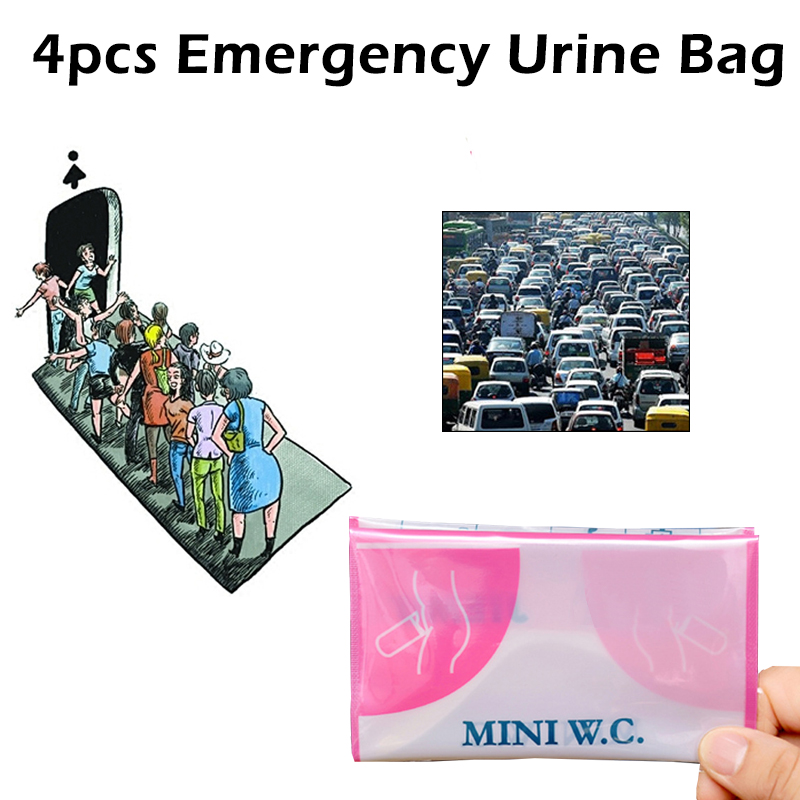 4 Pcs/Box 600cc Unisex Portable Emergency Urine Bag Mobile Mini Toilet For Travel Camping Car Disposable Urinal Storage Bag