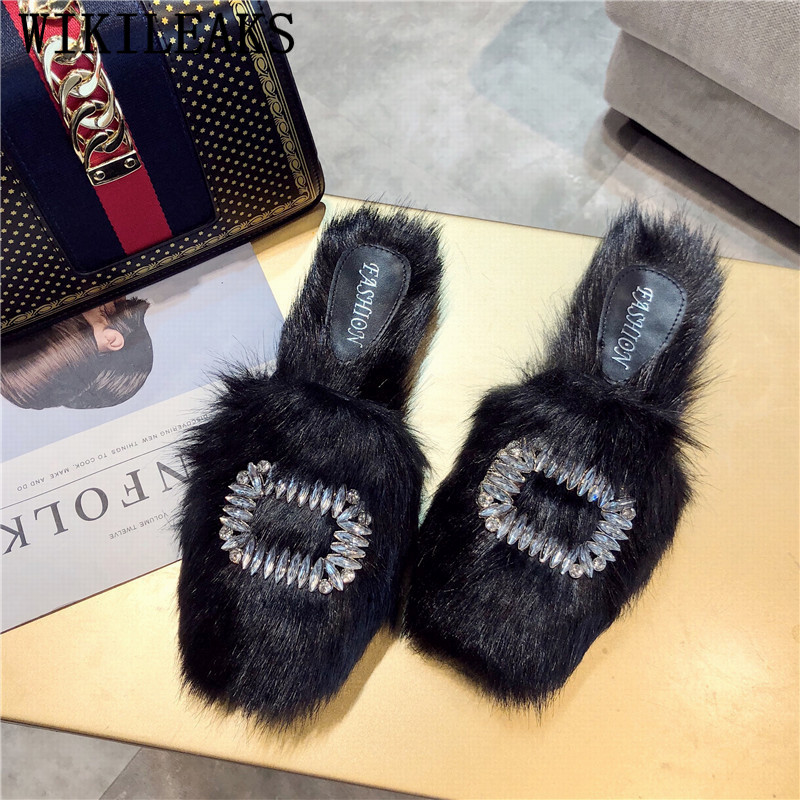 Crystal Flat Slippers Rhinestone Winter Shoes Women Designers Luxury Brand Loafers Slip On Slides Fur Mules Pantufa Unicornio все цены