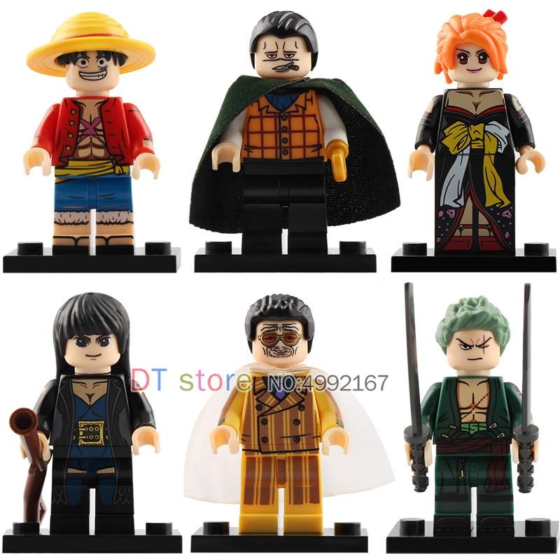 50Pcs/Lot Legoing Luffy Sanji Robin Roronoa Zoro Borsalino Chopper One Piece Anime Sea Adventure Building Blocks Toys XP036