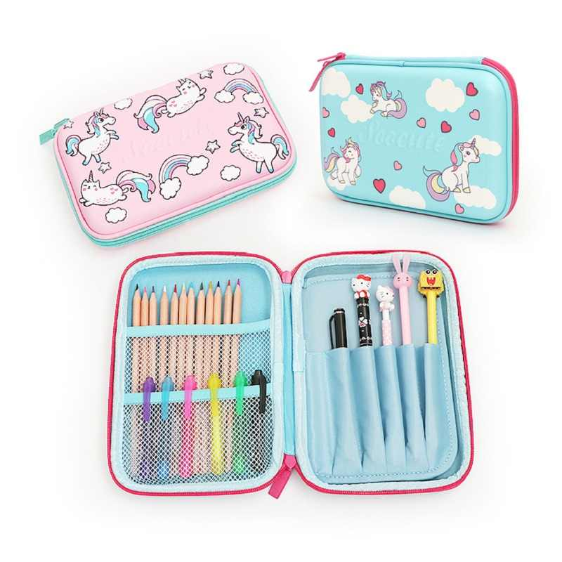 Pen Case Organizer Pen and Pencil Pouch for School Blue Unicorn Pencil Case for Girls