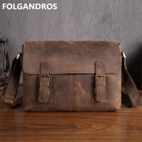 Men's Vintage Genuine Leather Shoulder Bag for Book Classic Soft Cowhide Crossbody Messenger Bag Bolsa