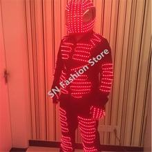 DX003 Robot men LED Illuminated suit ballroom dance costumes gloves pants helmet pants 4 colors dj disco party lights clothes