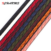 XCHARMS 5MM Flat PU Leather Cord Braid Pattern Rope Jewelry Findings Accessories Fashion Jewelry Making Bracelet Materials
