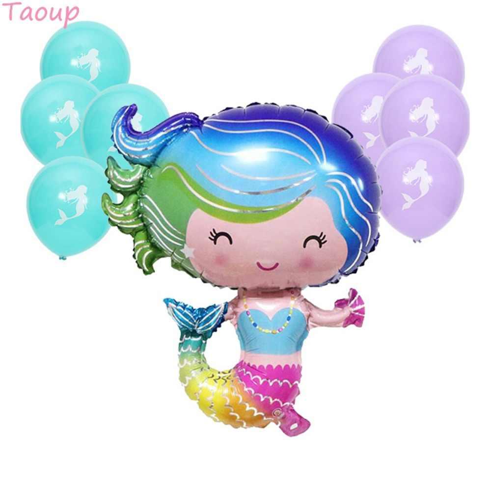 Taoup רדיד בת ים בלוני לטקס נושא קונפטי Ballons האוקיאנית שמח יום הולדת Decors לילדים ספקי צד בת ים קטנים