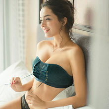 Strapless underwear non-slip solid color jacquard lace bandage no steel ring gathered tube top wrapped chest free shipping