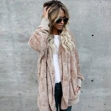 цена на Autumn Winter Woman Fluffy Faux Fur Warm Hooded Outwear Coat Long Sleeve Jacket Pockets Cardigan Plus Size S-