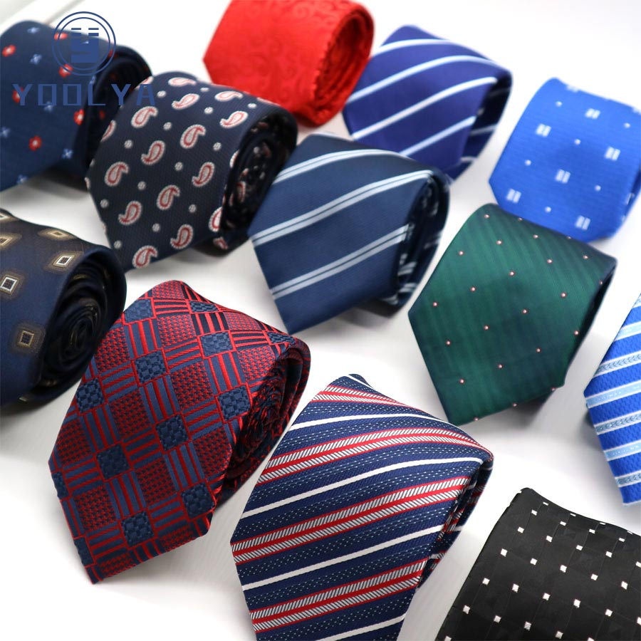 NEW 7CM Man Skinny Ties Polyester Silk Narrow Stripes Neck Tie Men Wedding Party Gravatas Adult Red Black Yellow Slim Ties
