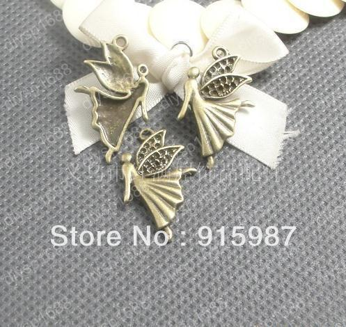 Sweet Bell 80pcslot 29*18mm drill 1.2mm Vintage Bronze Angel wings pendants Jewelry Charm Pendants Findings Fit Jewelry Making