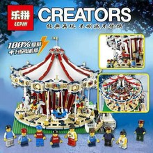Lepin 15013 City Sreet Ceator Carousel Model Building Kits Mini Figures Blocks Toy Compatible 10196  Christmas Gift